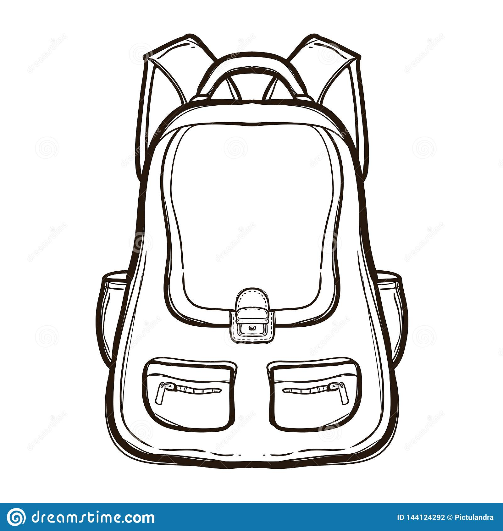 Backpack With School Supplies Coloring Book Stock Vector