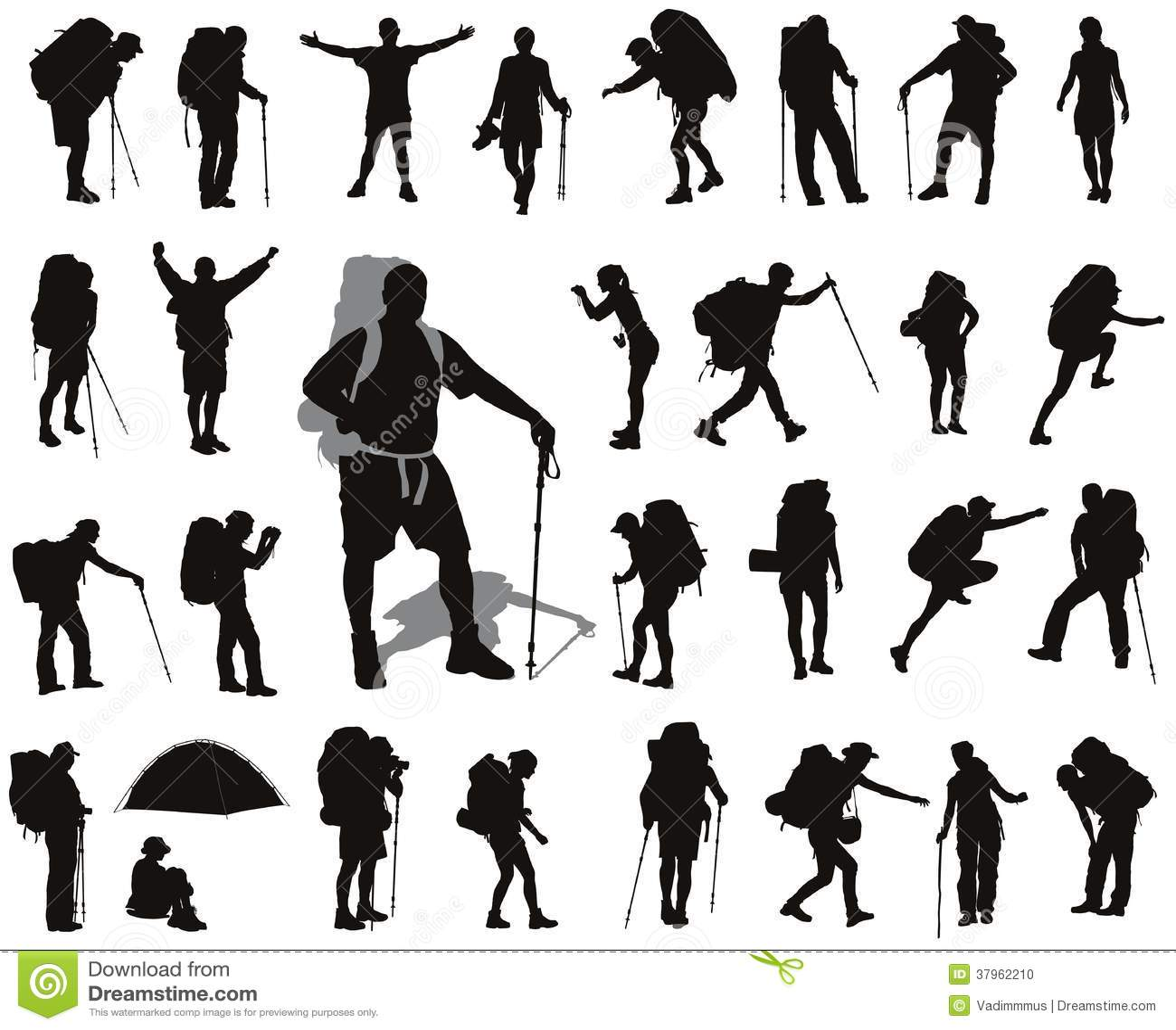 Backpacker Set Stock Vector Illustration Of People