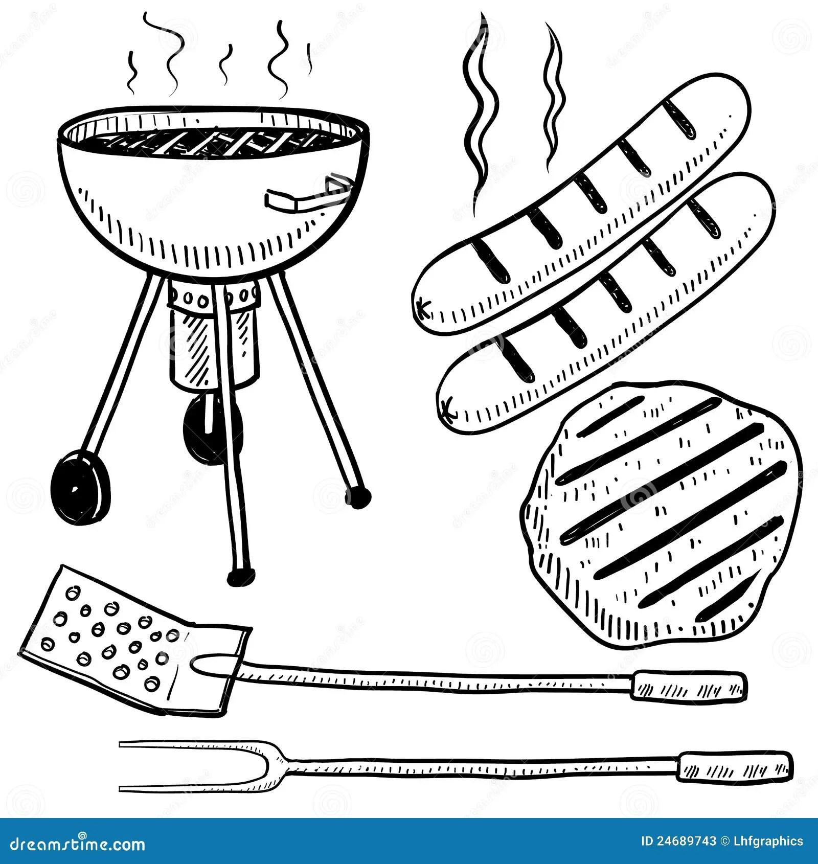 Backyard Barbecue Equipment Sketch Stock Photos