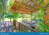 Backyard Farm Deck With Attached Open Pergola Stock Photo ...