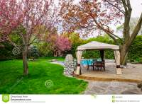 Backyard With Gazebo And Deck Stock Photo - Image: 36169830