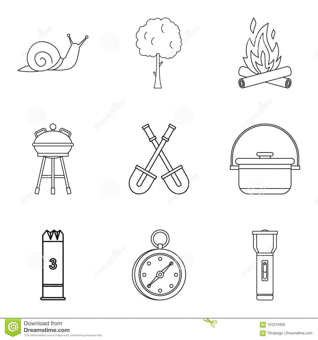 Backyard Icons Set, Outline Style Stock Vector