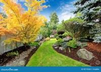 Backyard Landscape Design. Tropical Theme Stock Photo ...