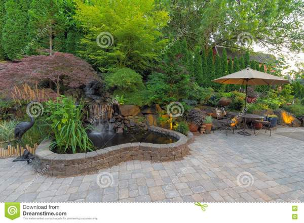 patio with landscaping royalty-free