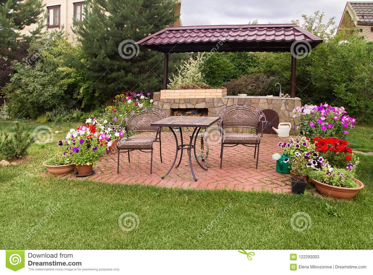 https www dreamstime com backyard patio area stone fireplace furniture green party barbecue blooming flowers image122293003