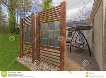 Backyard Patio With Diy Privacy Fence Stock