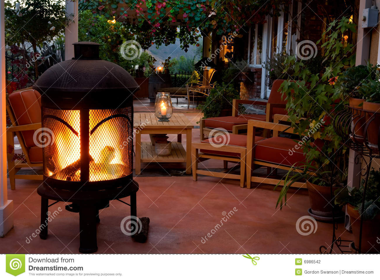 outside table and chairs for 2 chair 1 backyard patio fireplace stock photography - image: 6986542