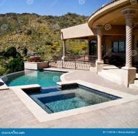 Backyard Patio With Pool And Spa Stock Photo - Image: 11158106