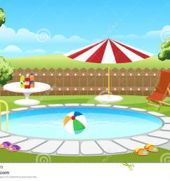 backyard pool with fence and parasol backyard pool vector illustration cartoon house lounge poolside [ 1300 x 874 Pixel ]