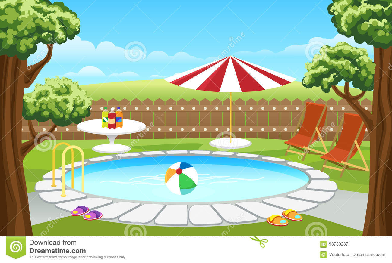 hight resolution of backyard pool with fence and parasol backyard pool vector illustration cartoon house lounge poolside