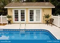 Backyard pool house stock image. Image of affordable ...