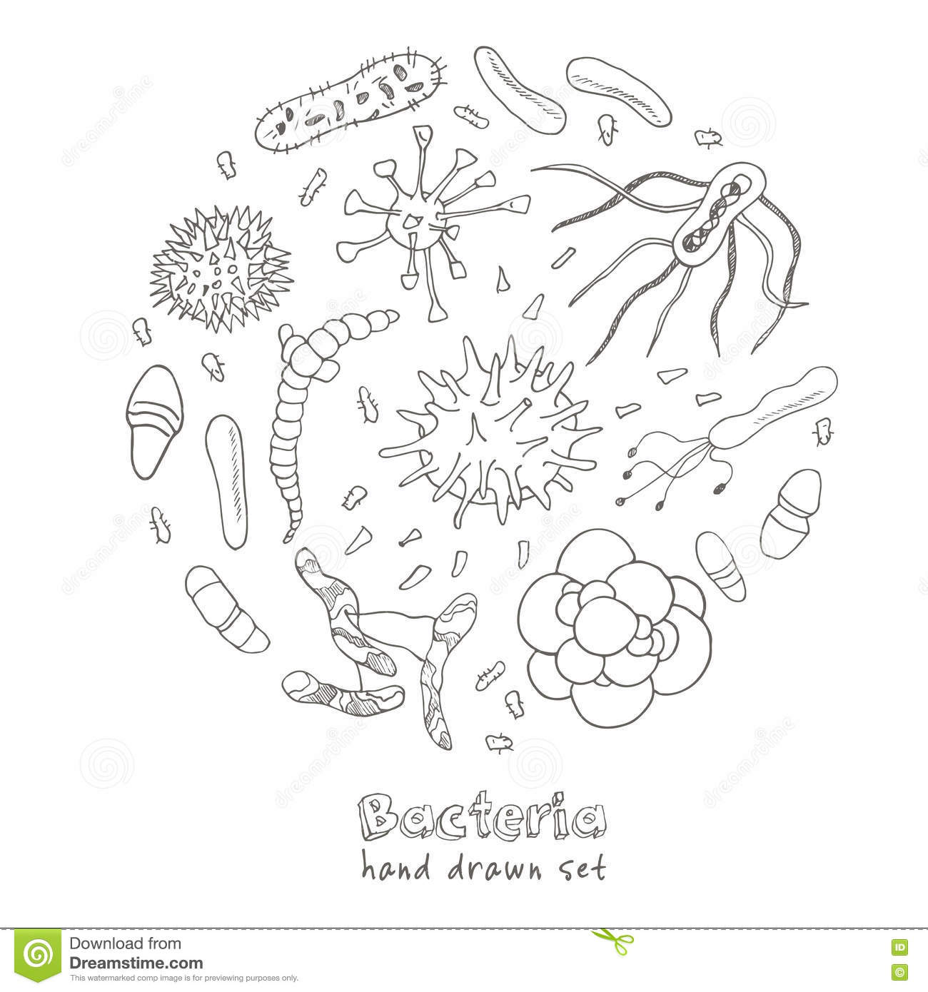Bacteria Virus Icons Set. Sketches. Stock Vector