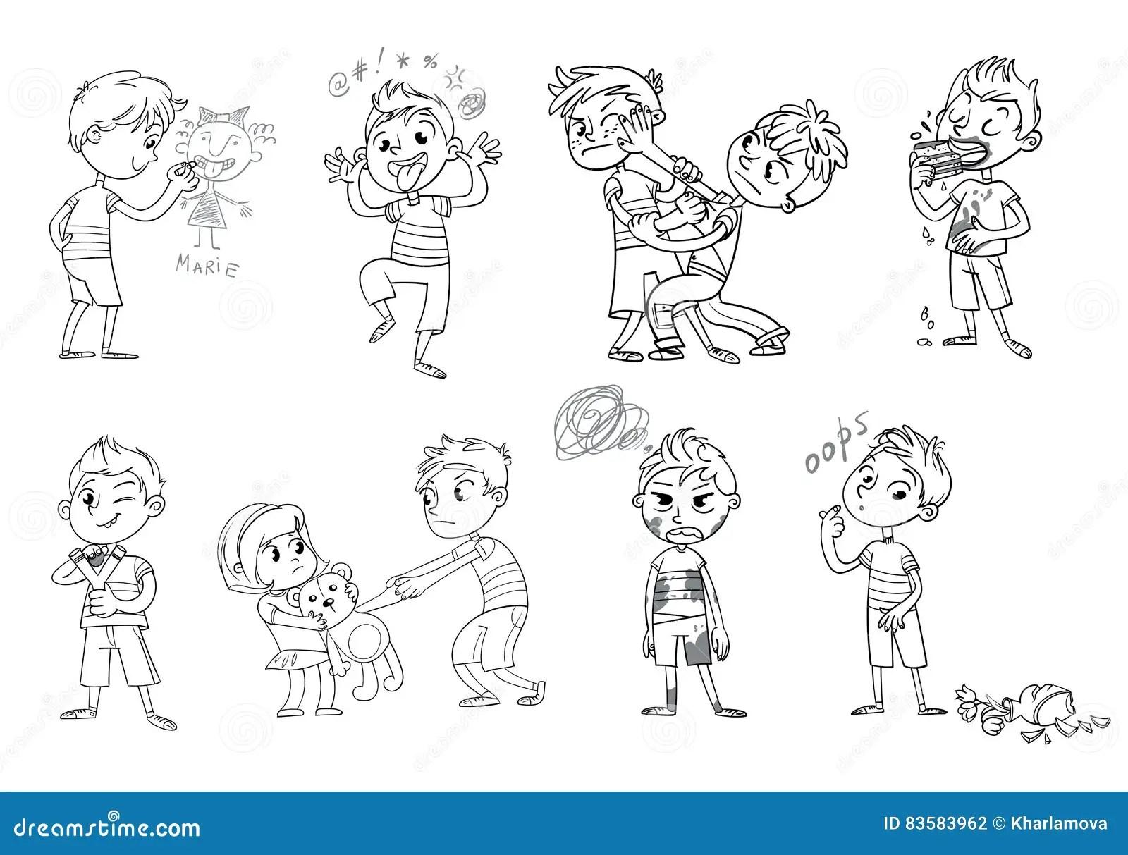 Bad Behavior. Funny Cartoon Character. Vector Illustration