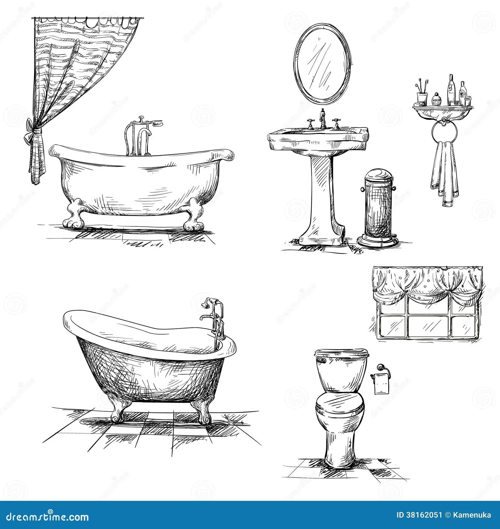 Badezimmerinnenraumelemente Hand Gezeichnet Badewanne T