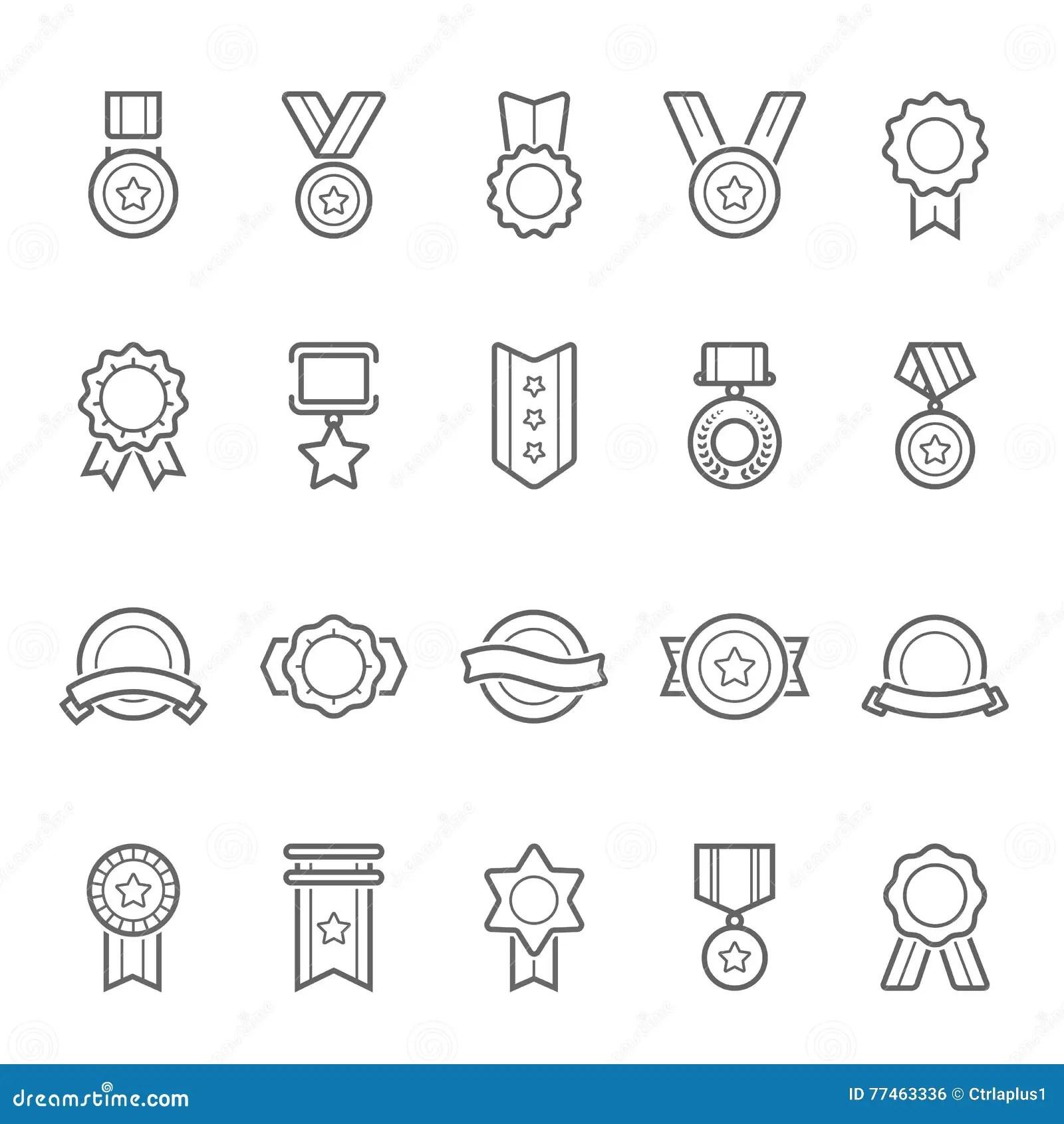Badges Awards Vector Outline Stroke Icon Set Stock Vector