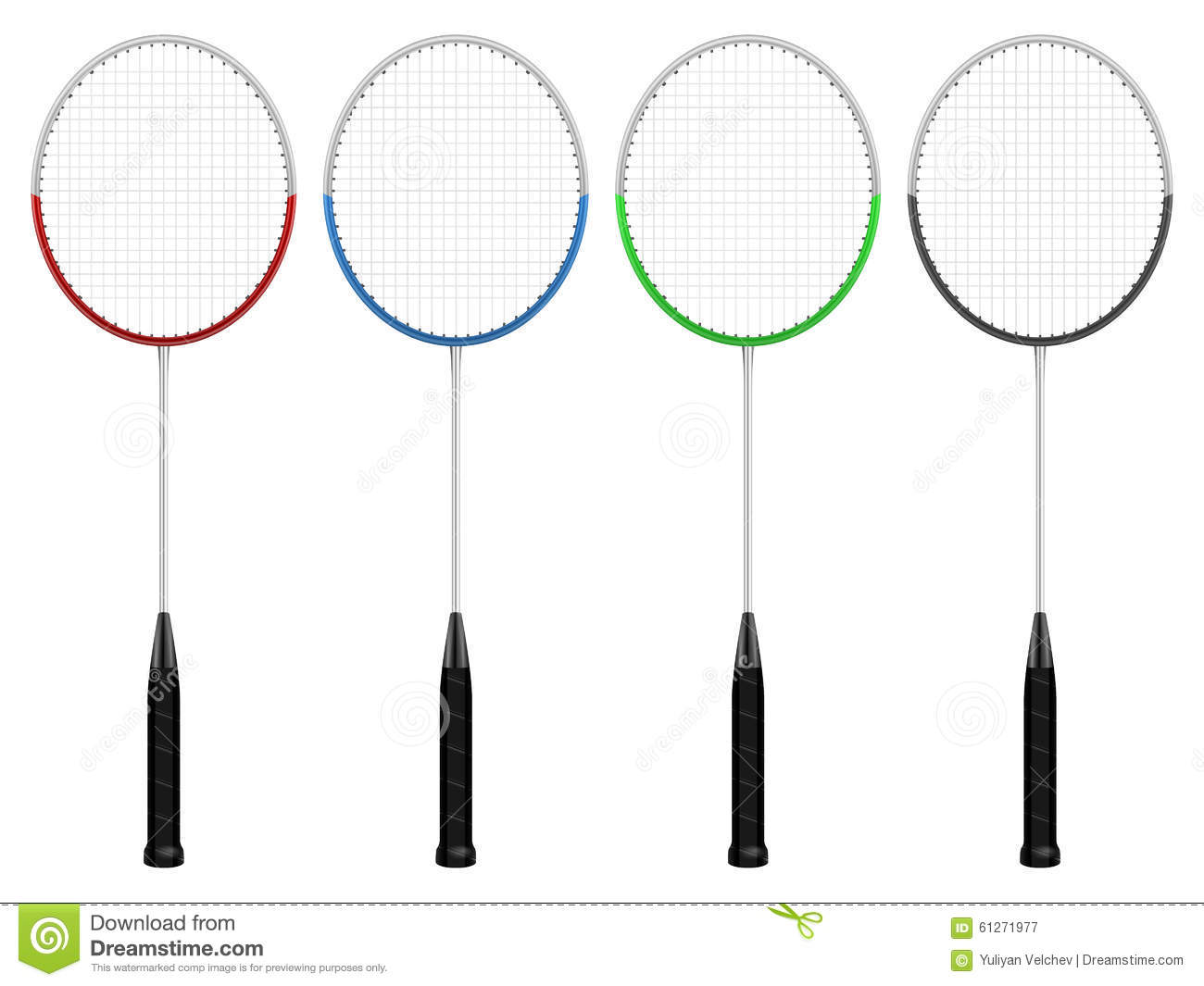 Badminton Rackets Set Stock Vector Illustration Of