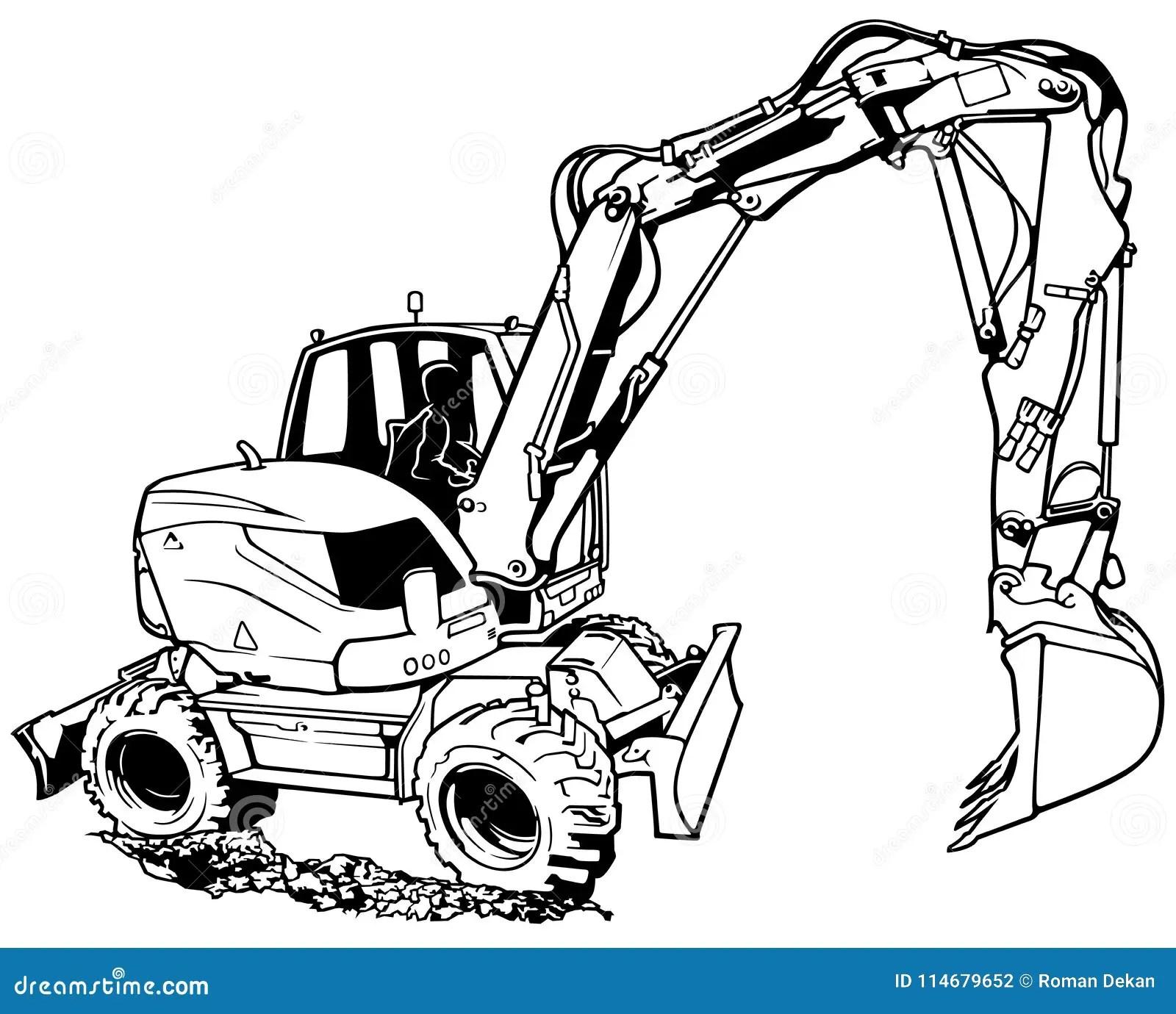 Bagger Machine In Der Arbeit Vektor Abbildung