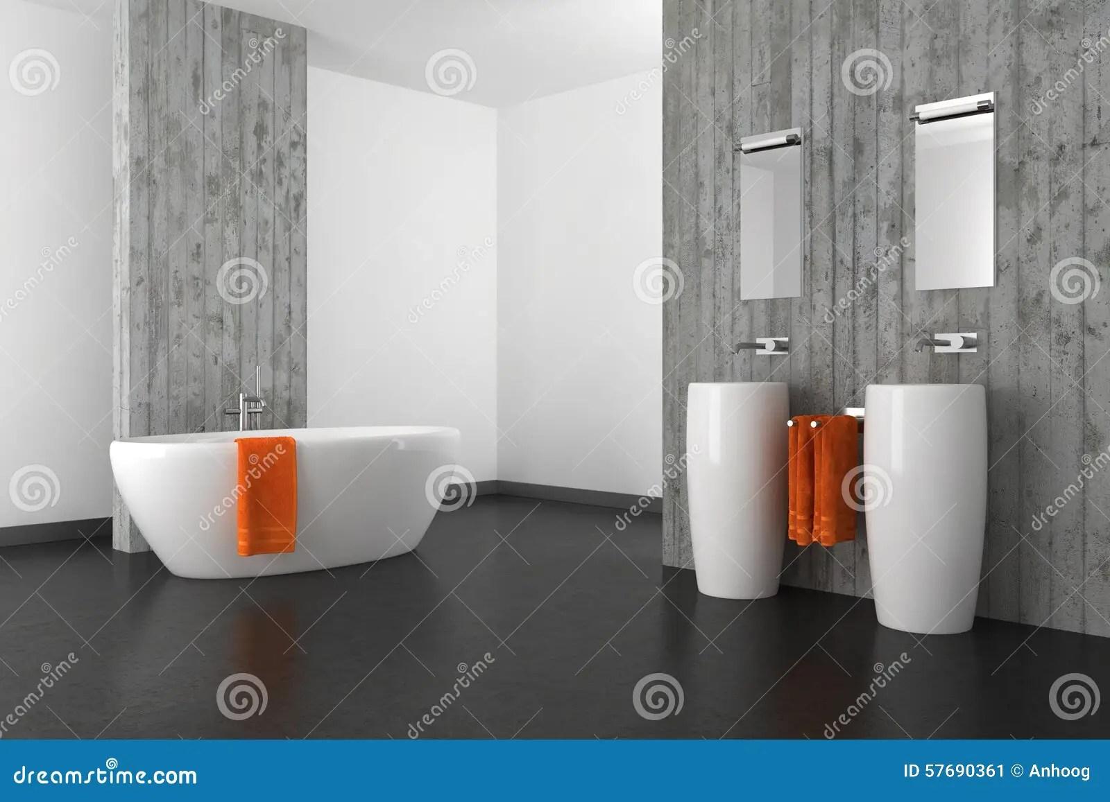 Bagno Moderno Con Il Muro Di Cemento Ed Il Pavimento Scuro Illustrazione di Stock