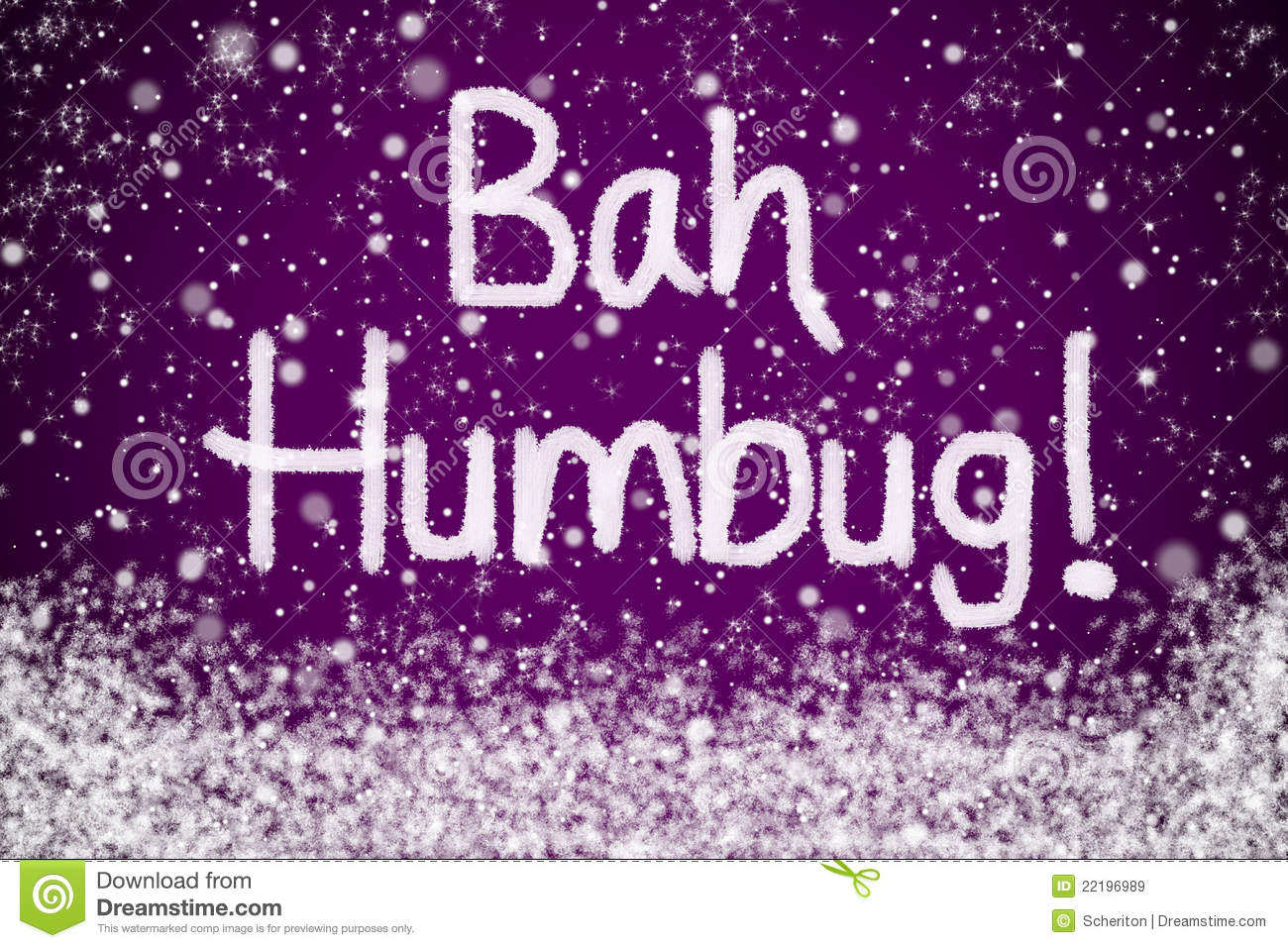 Bah Humbug Purple Christmas Message Royalty Free Stock