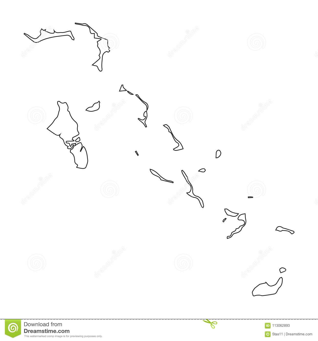 Bahamas Linear Map On A White Background Vector