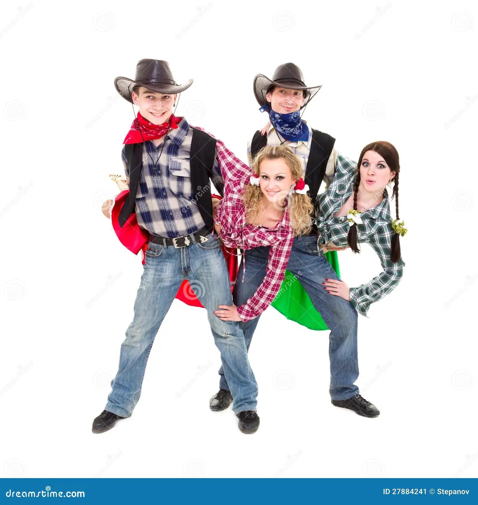 Baile Sonriente De Los Vaqueros Y De Los Cowgirls Imagen
