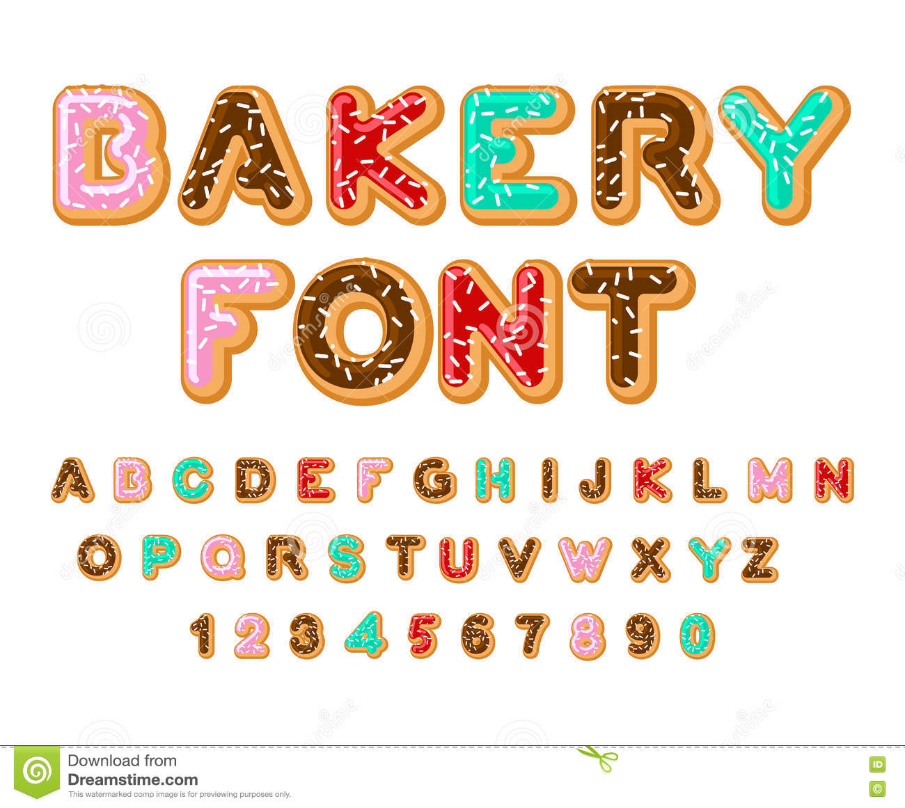 Bakery Font Donut Abc Baked In Oil Letters Chocolate