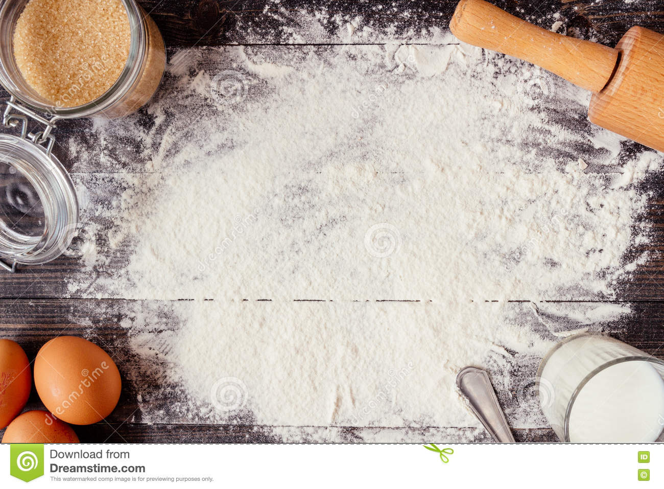 Baking Background Baking Ingredients On The Wooden Table