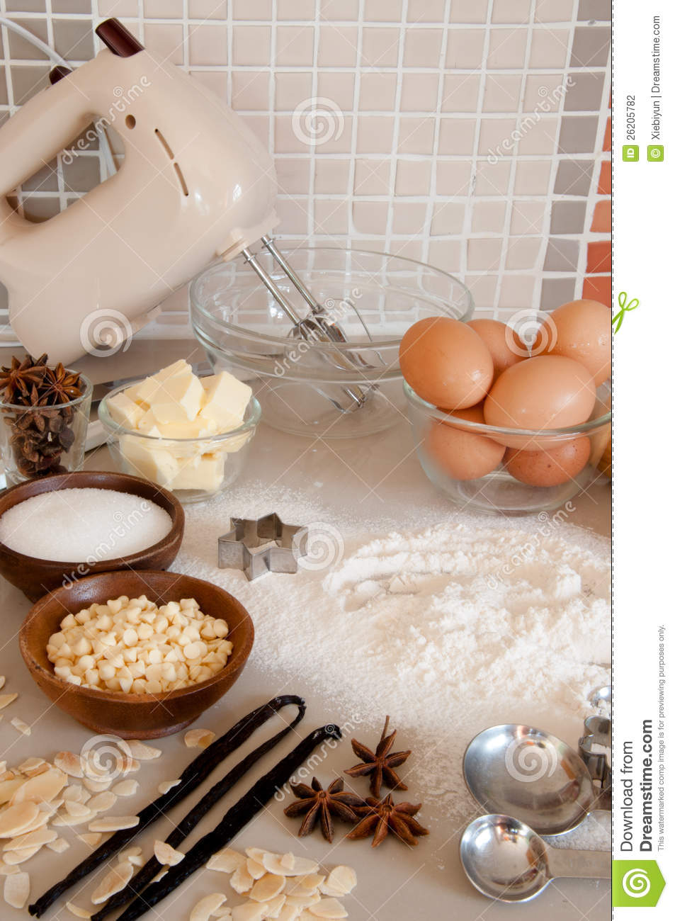 Baking Ingredients With Utensils Stock Photo Image Of