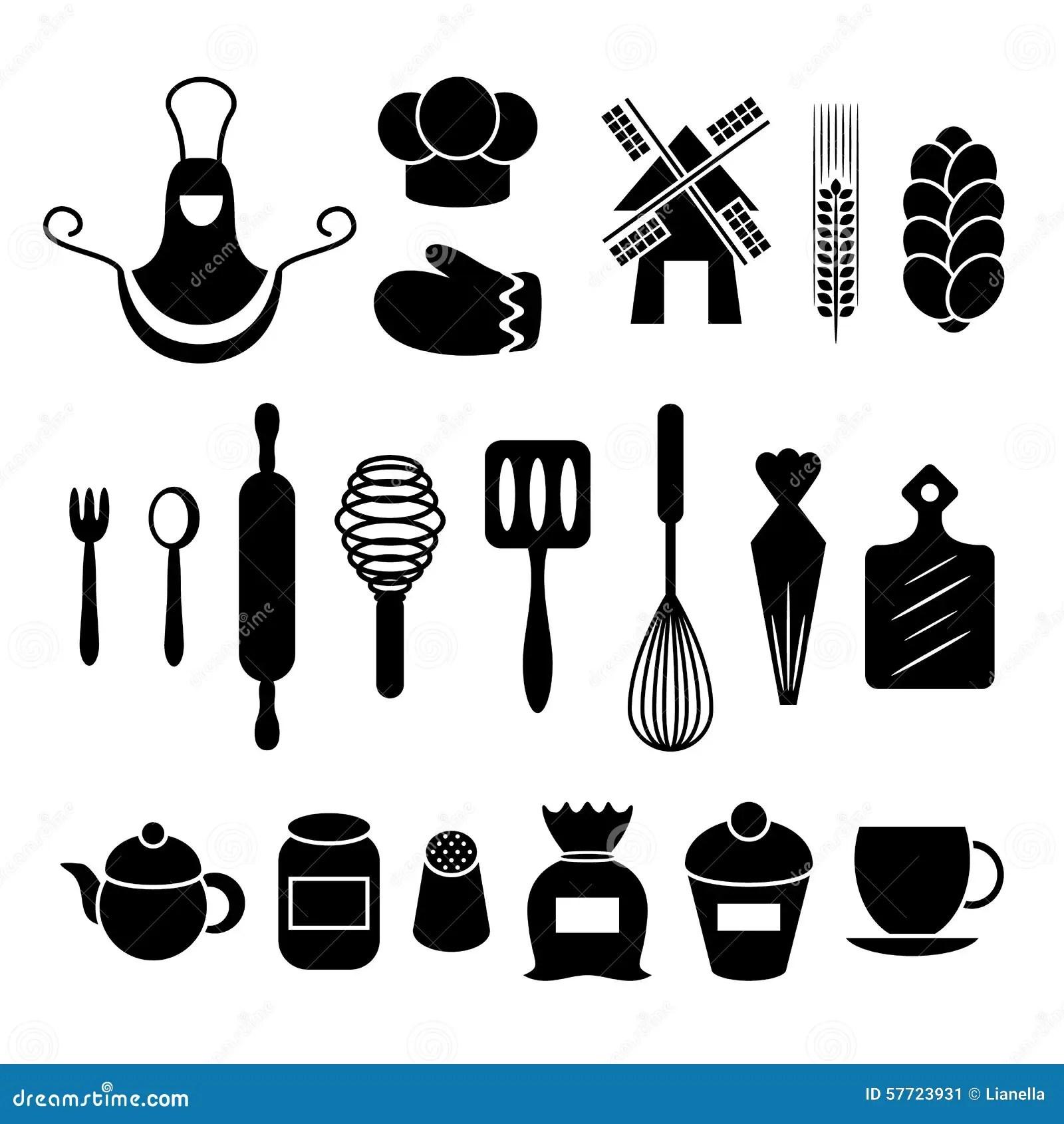 Baking Kitchen Tools Silhouettes Set Stock Vector