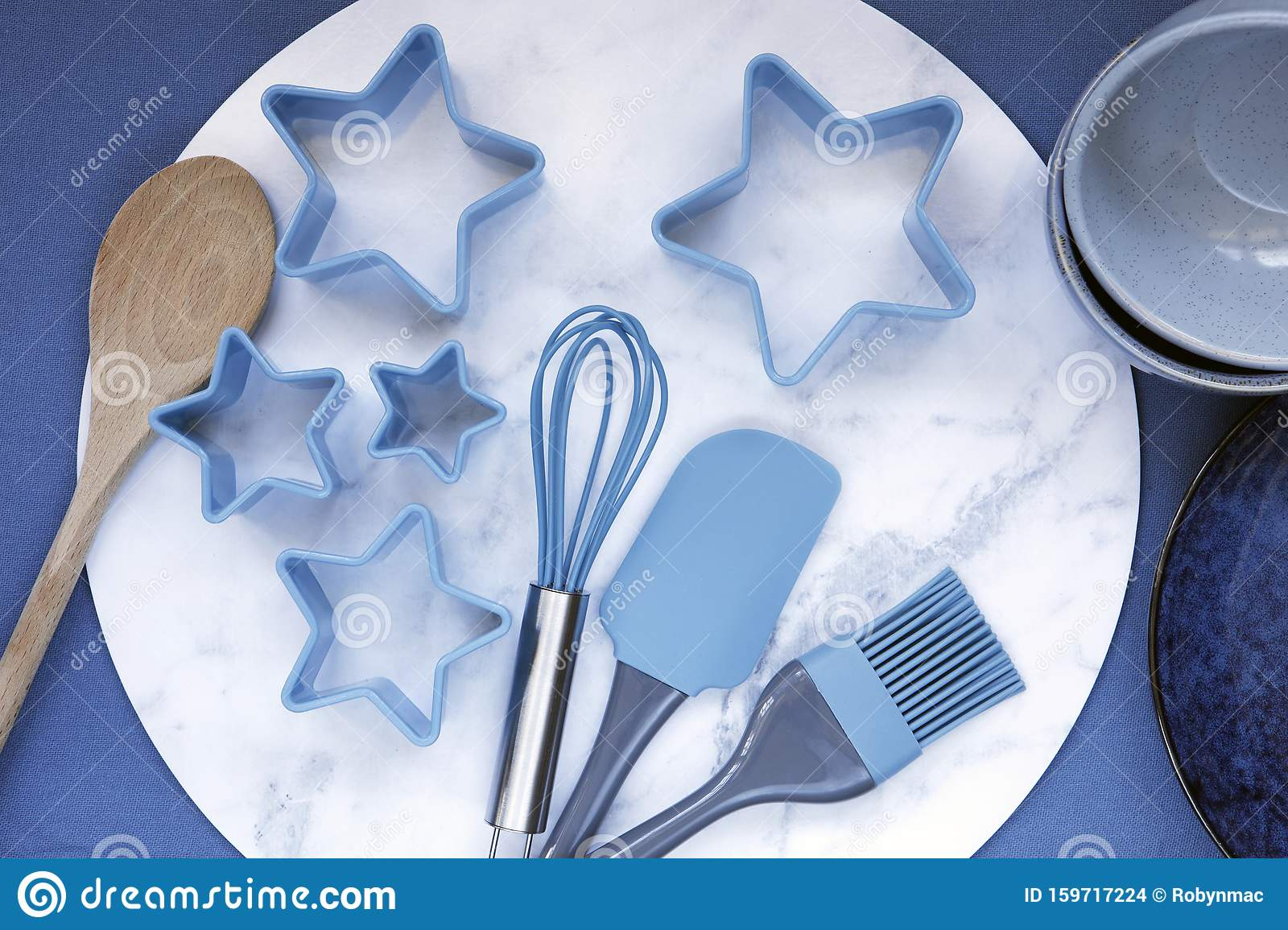 Baking Utensils Top View On Blue Background Stock Photo