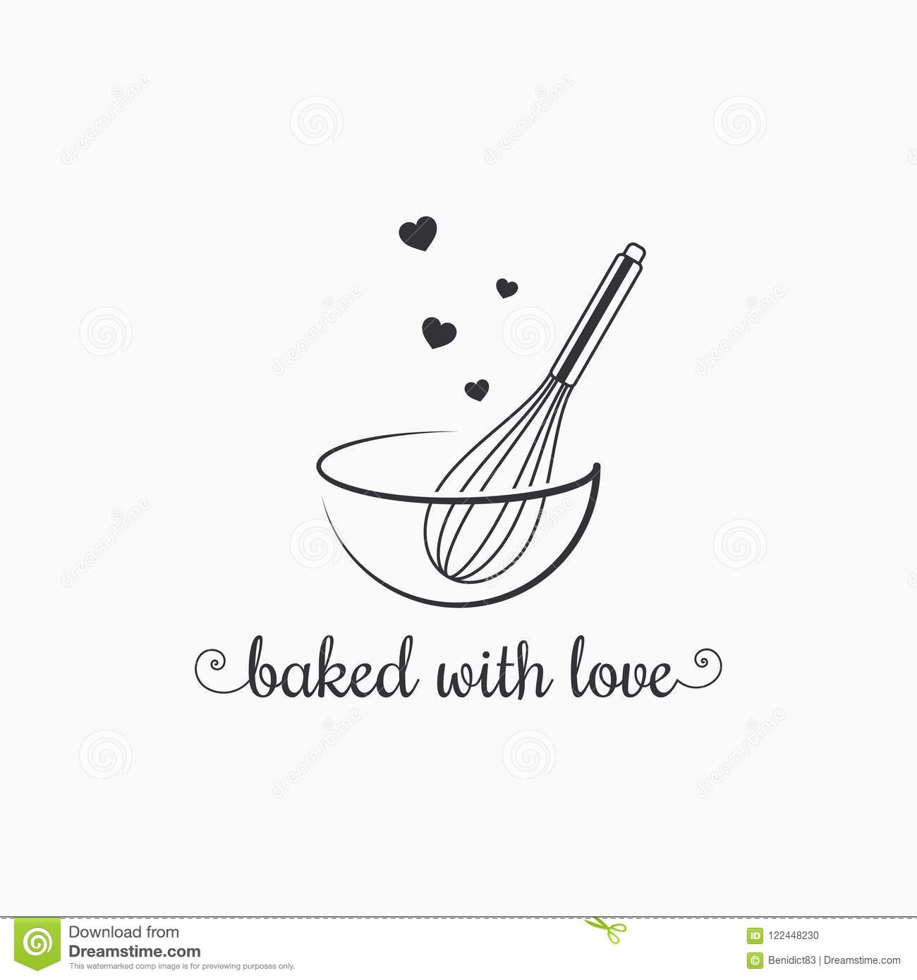 Baking With Wire Whisk Logo On White Background Stock