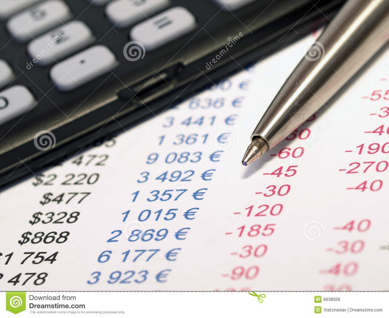 Balance Sheet With Pen And Calculator Stock Photo