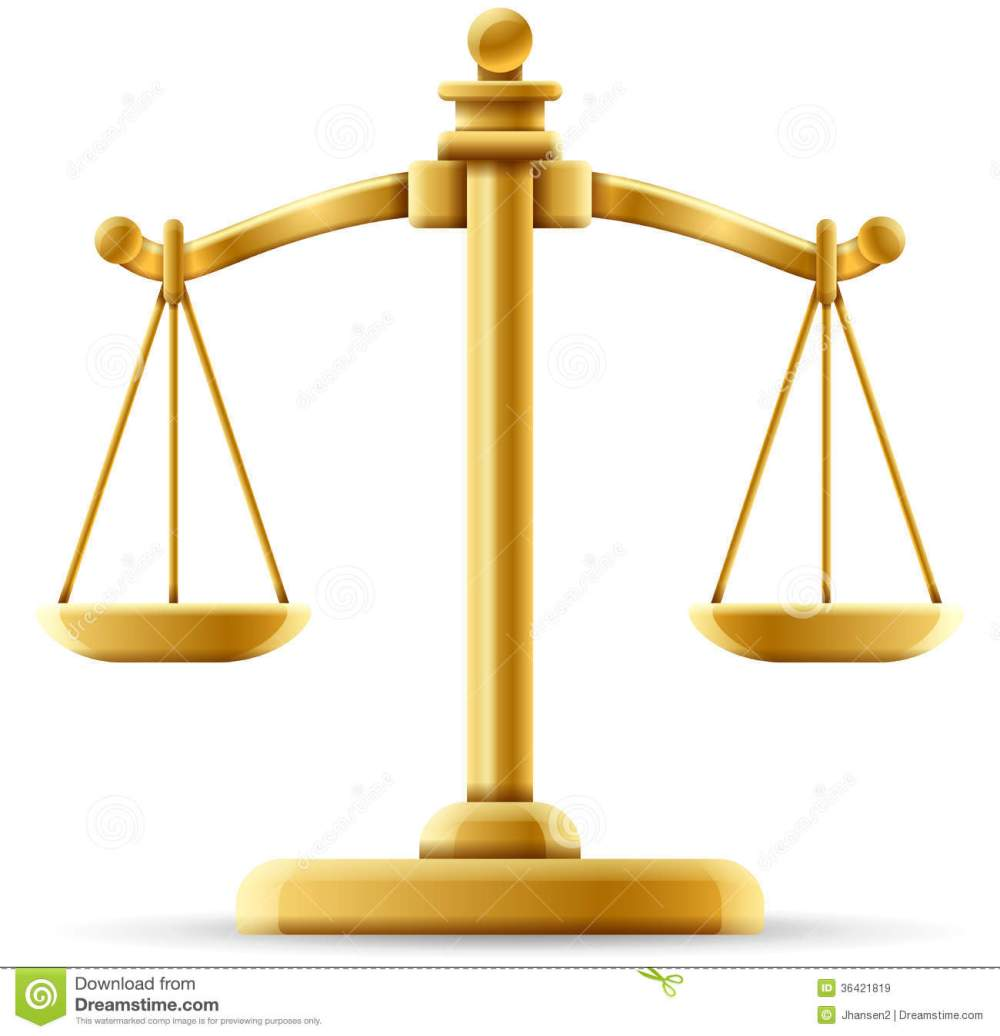 medium resolution of  balanced scale of justice on white with space for copy stock illustration