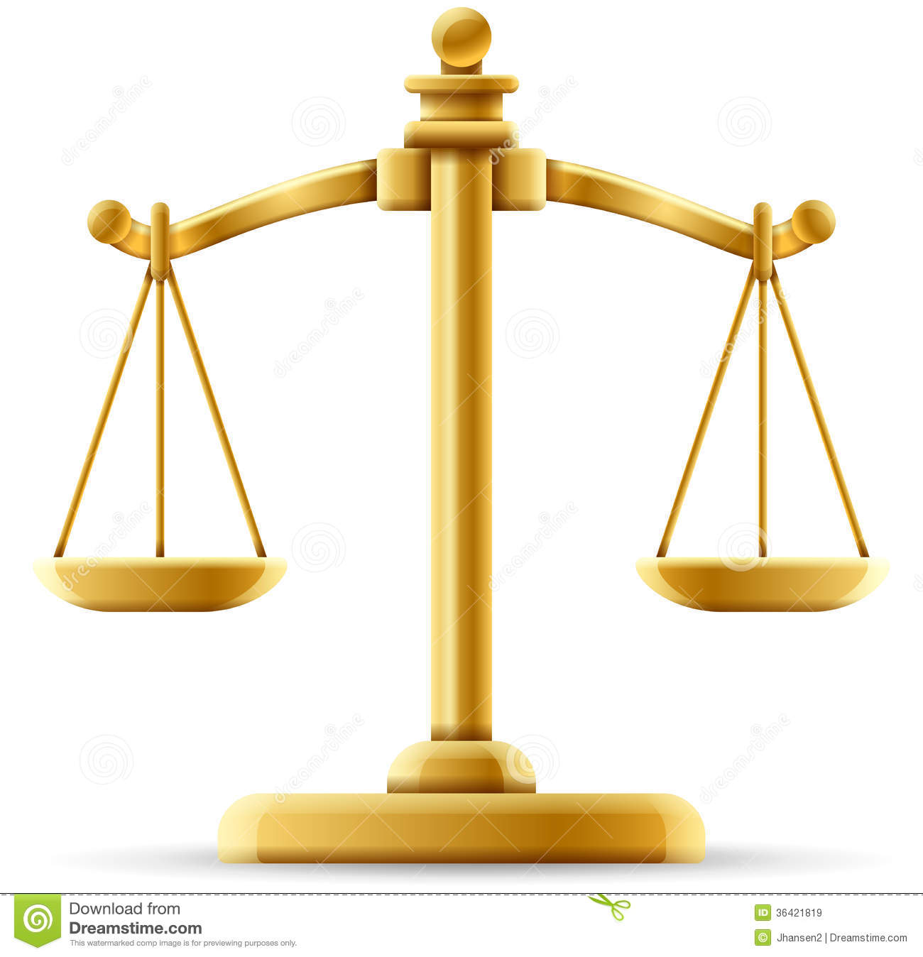 hight resolution of  balanced scale of justice on white with space for copy stock illustration