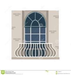 balcony with wrought iron railing and arched window vector illustration isolated on a white background [ 1300 x 1390 Pixel ]