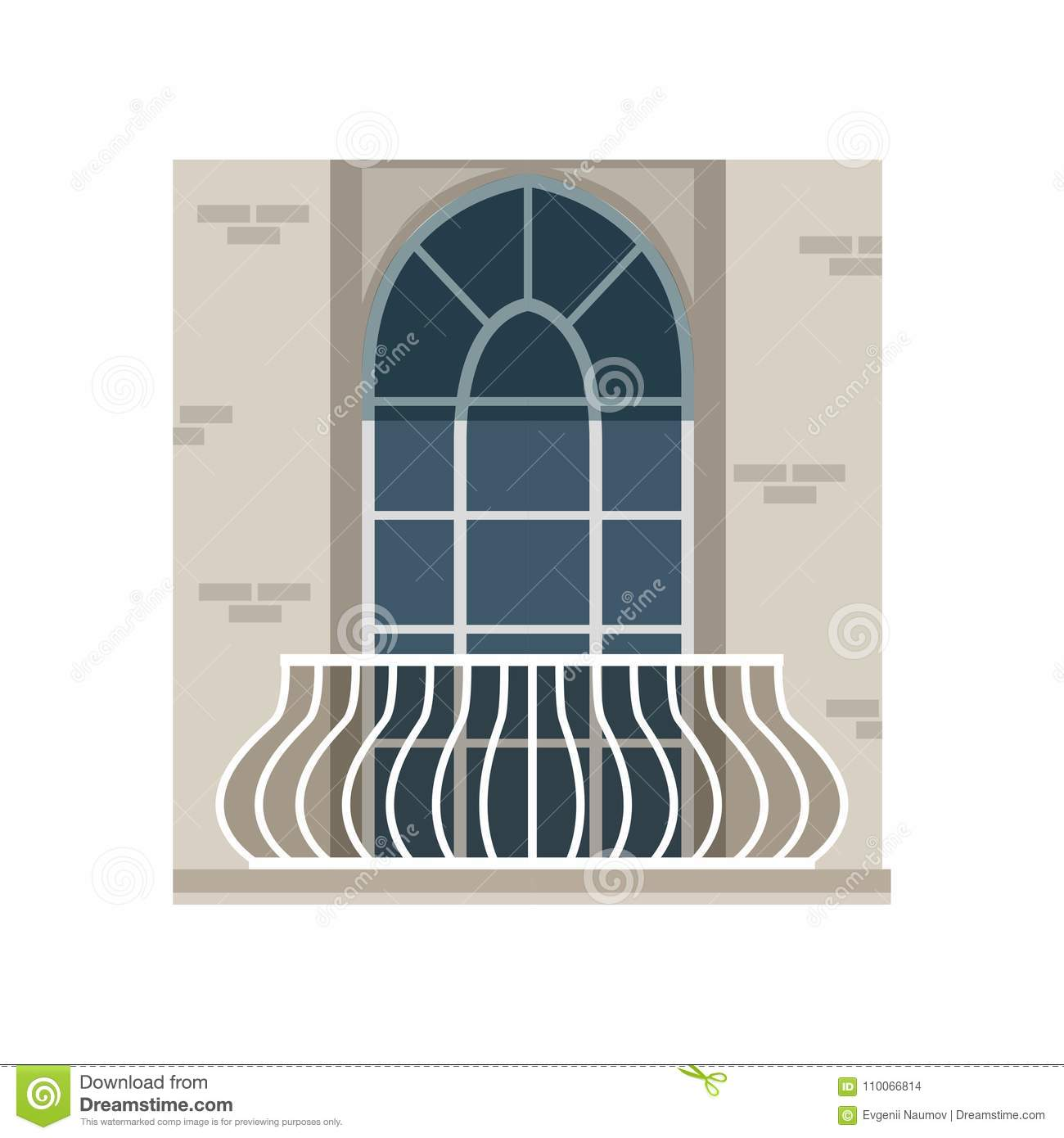 hight resolution of balcony with wrought iron railing and arched window vector illustration isolated on a white background