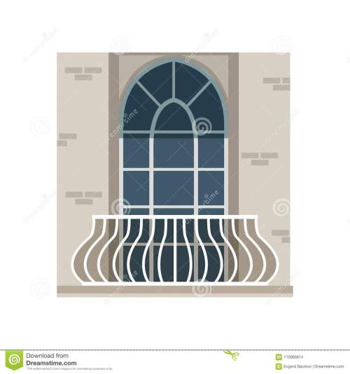 small resolution of balcony with wrought iron railing and arched window vector illustration isolated on a white background