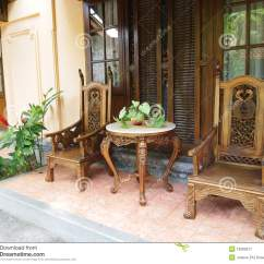 Wooden Hand Chair Bali Make Up Chairs Balinese Furniture On Patio Stock Image 13083917