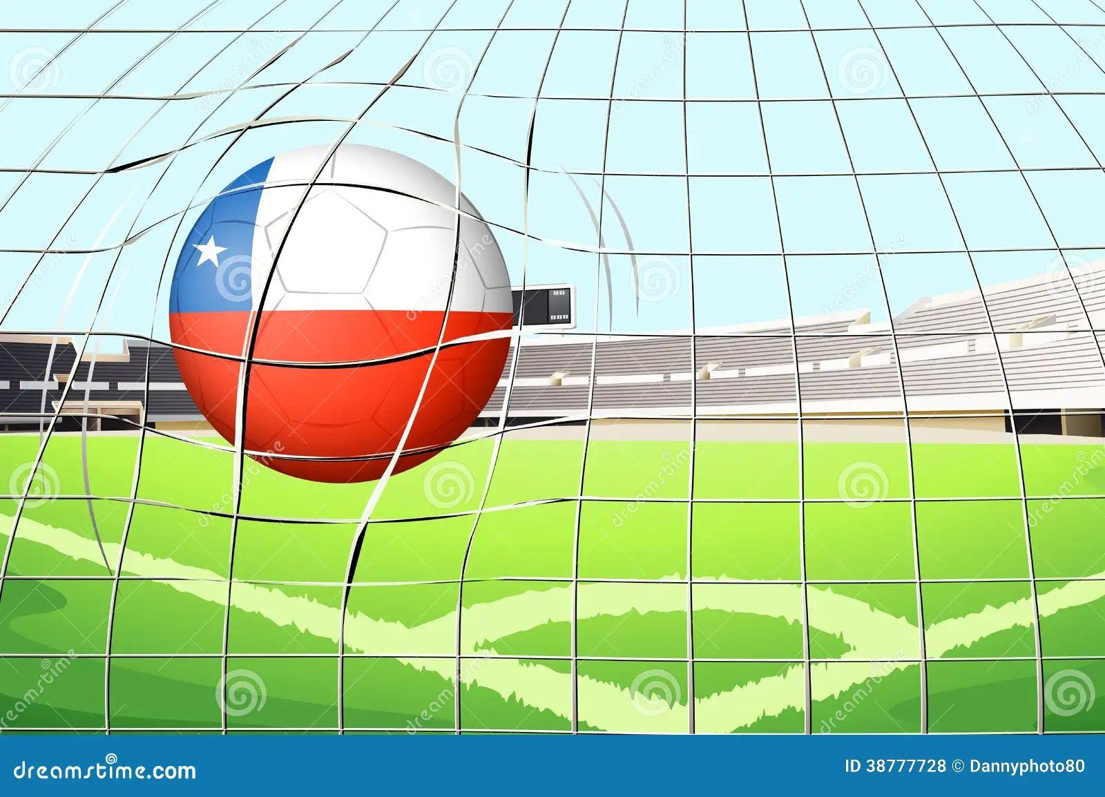a ball hitting the soccer goal vector illustration