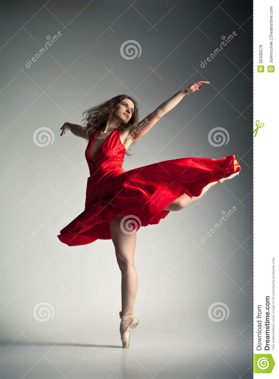 Beautiful Expersion Girl Wallpapers Ballet Dancer Wearing Red Dress Over Grey Royalty Free