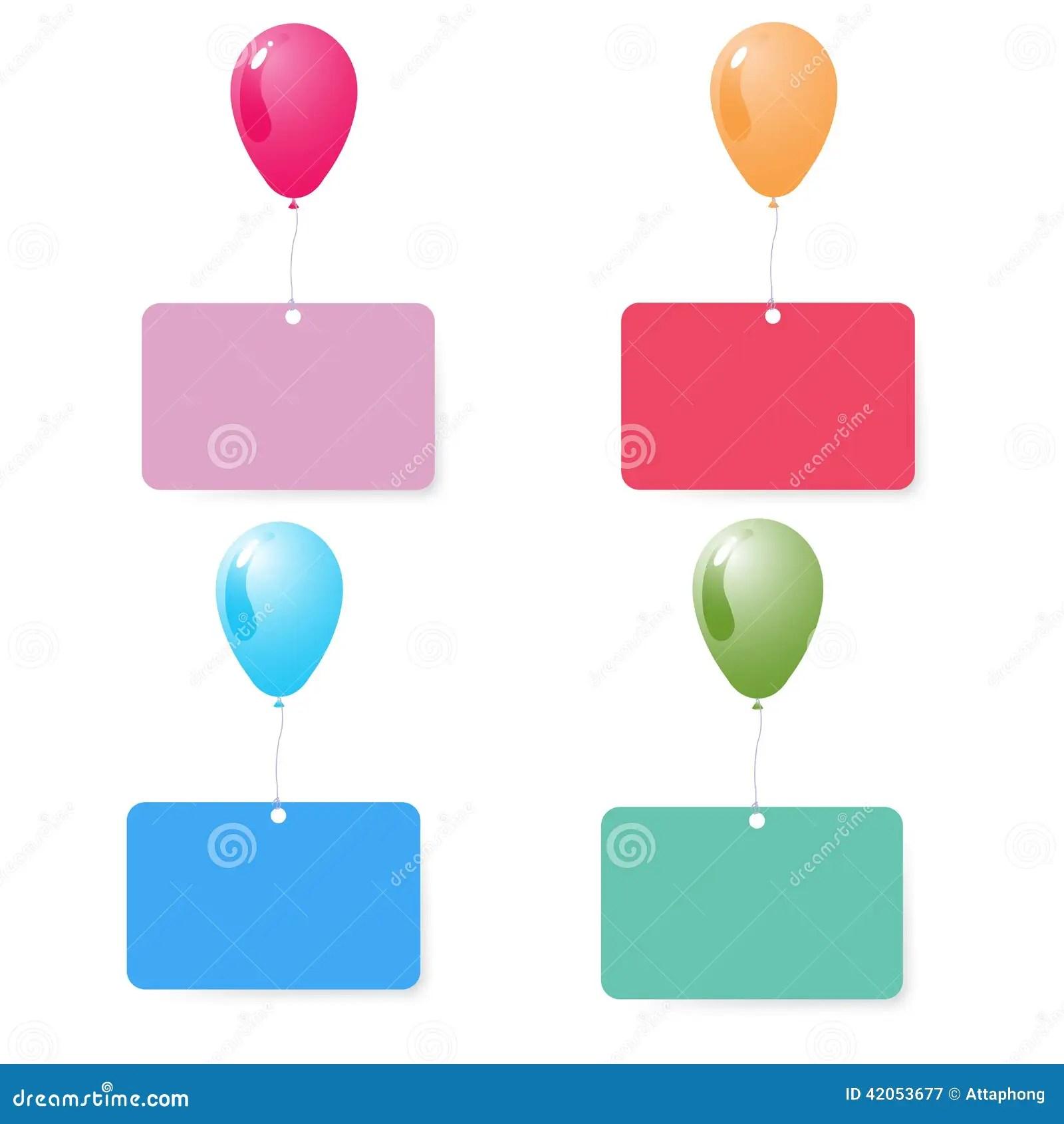 Balloon With Blank Card Set Vector Stock Vector Image