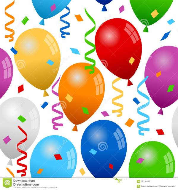 balloons and confetti seamless