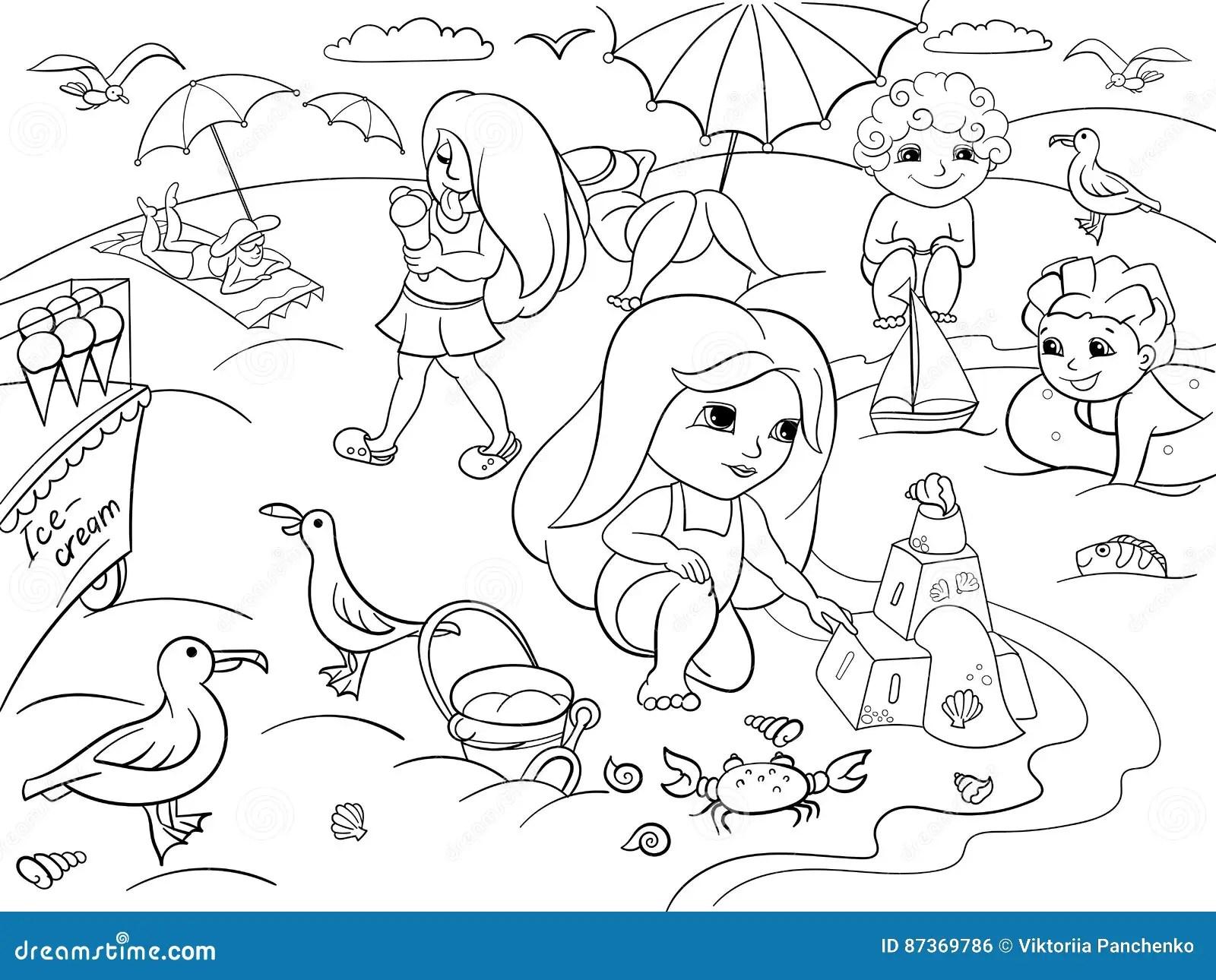Bambini Che Nuotano Alla Spiaggia Ed Al Gioco Con I