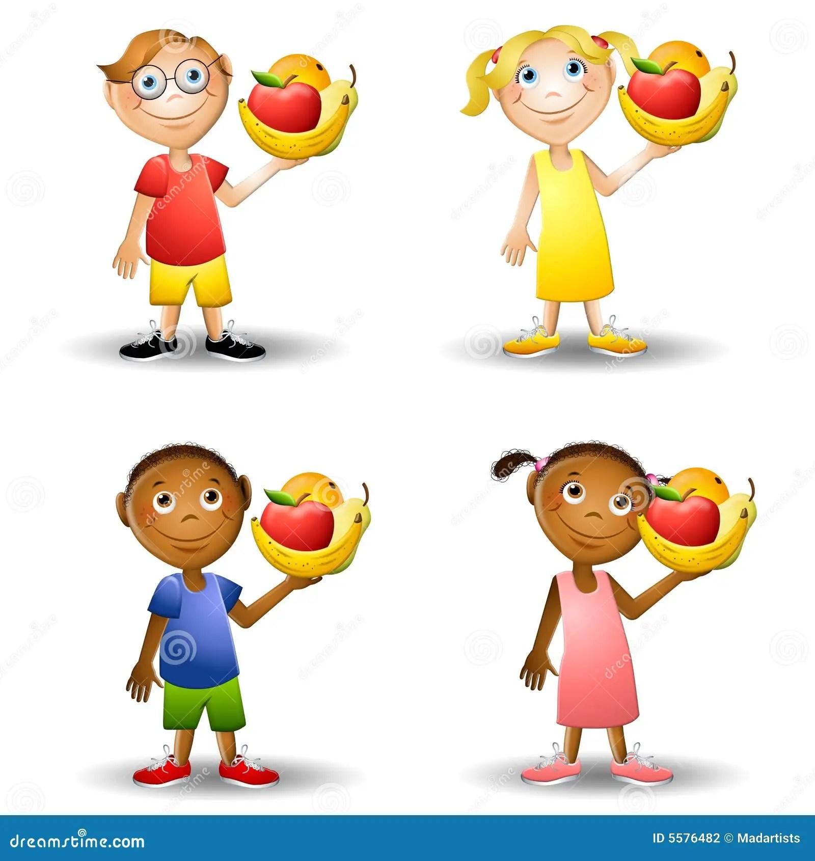 Bambini Che Tengono Gli Alimenti Sani 2 Illustrazione Di