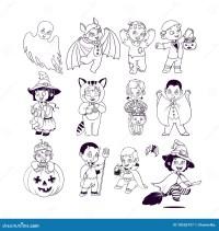 Bambini In Costumi Di Halloween Libro Da Colorare Di ...