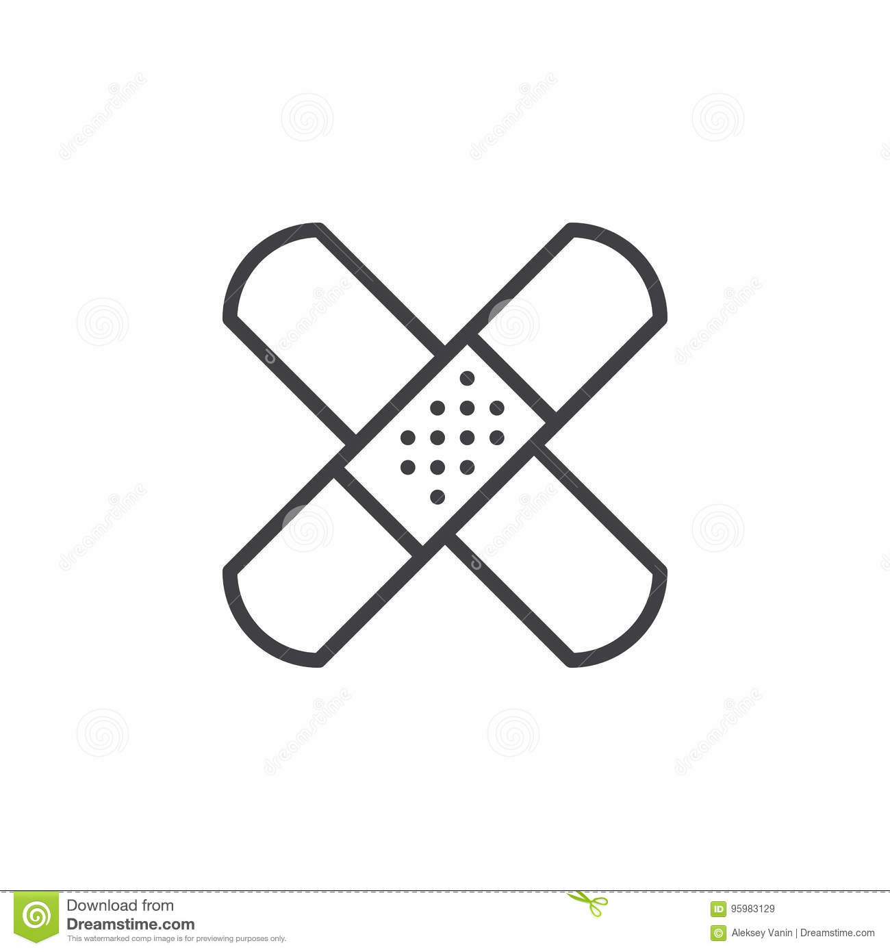 Band Aid Adhesive Bandage Line Icon Outline Vector Sign