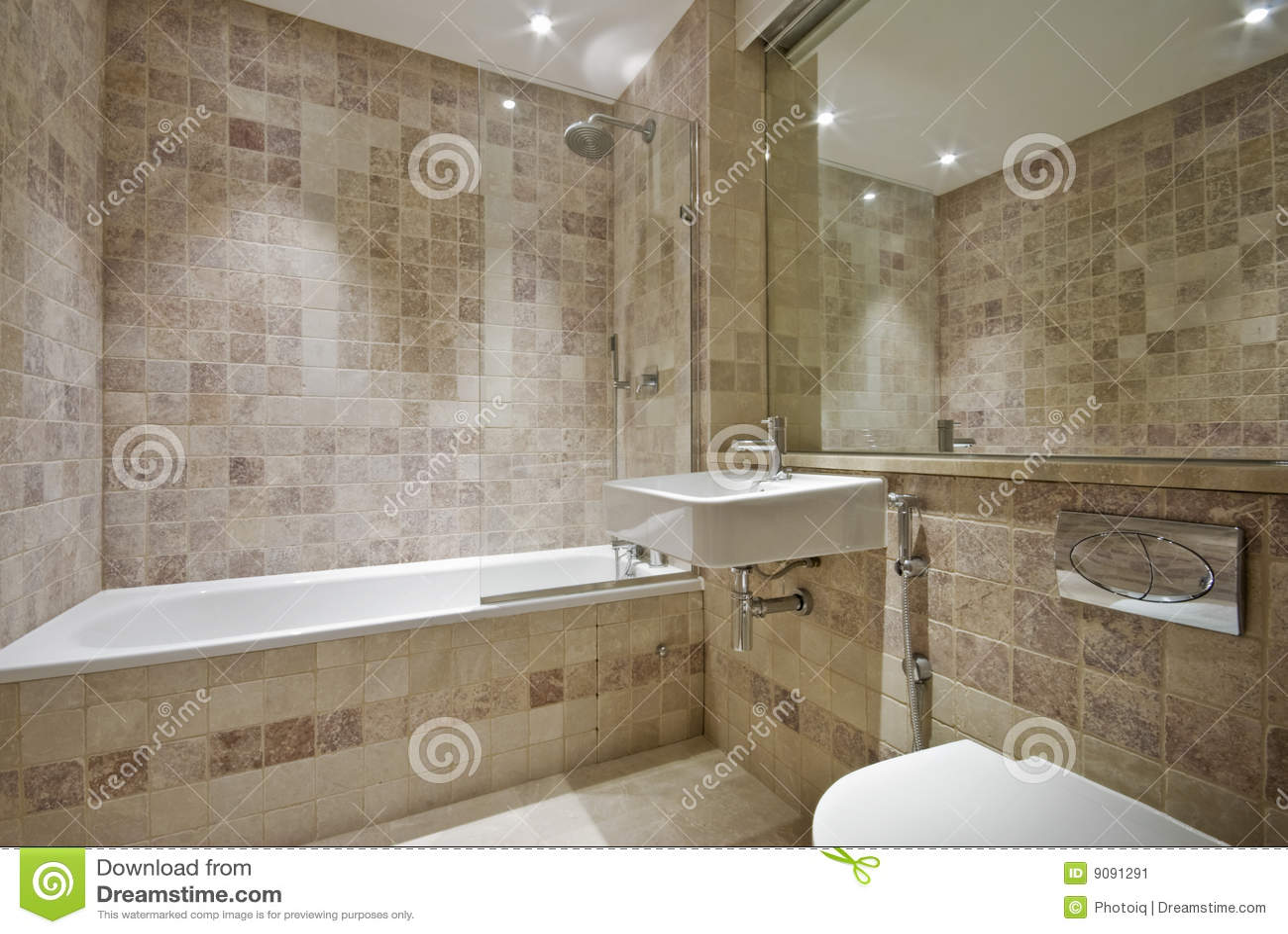 Banheiro Contemporneo Com As Telhas De Pedra Naturais