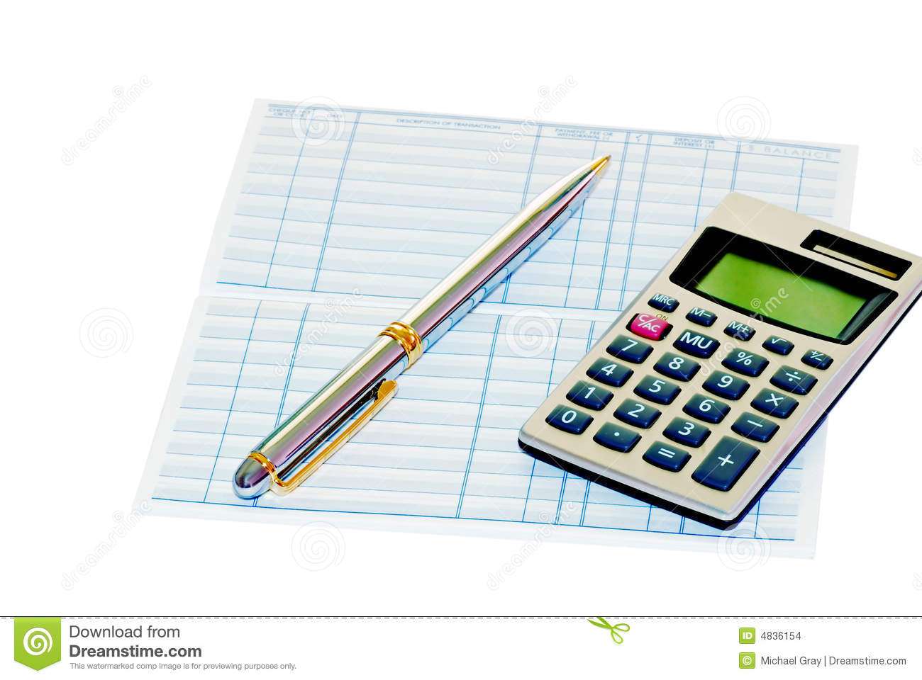 Bank Book With A Pen And Calculator Stock Photo