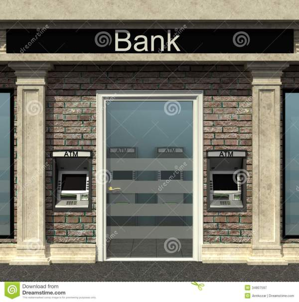 Bank Branch With Automated Teller Machine Royalty Free