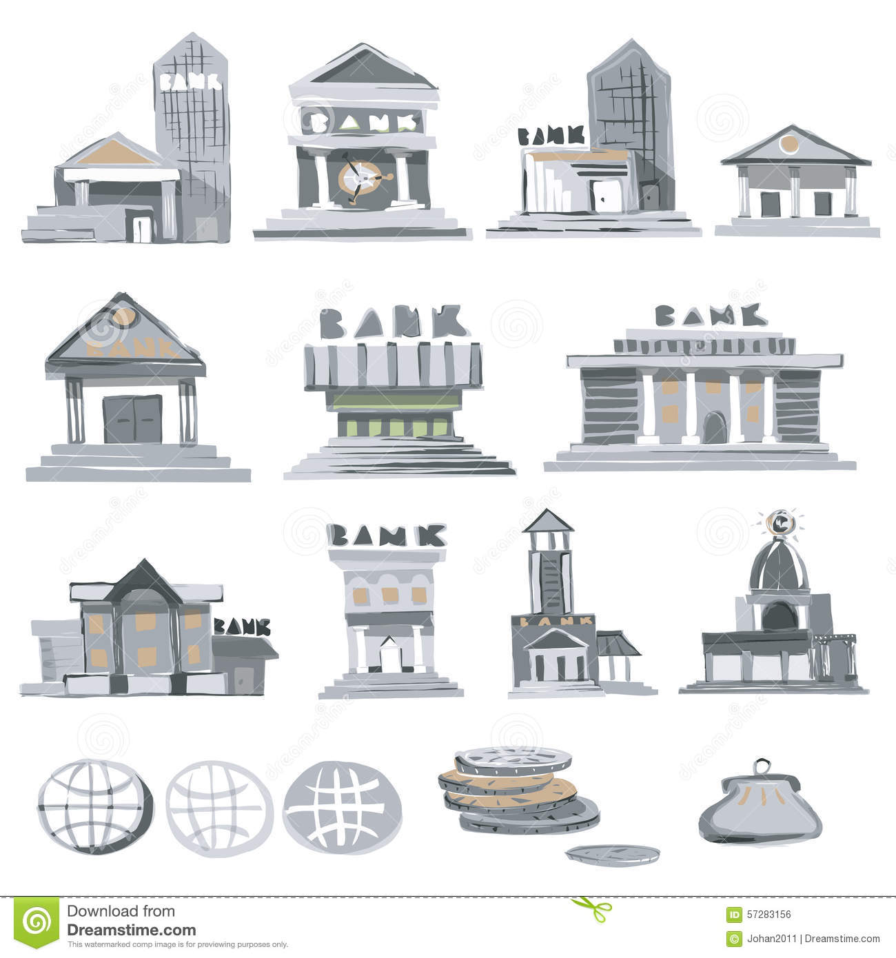 Bank Buildings Stock Vector